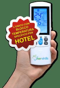 Aervirdis - telecomando speciale per hotel con blocco delle temperature