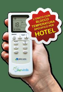 Aervirdis - telecomando speciale per hotel con blocco delle temperature, modello Copiativo